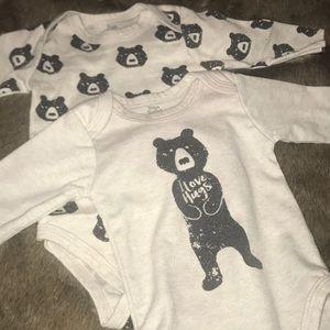 Two Bear Onesies 0-3 Months